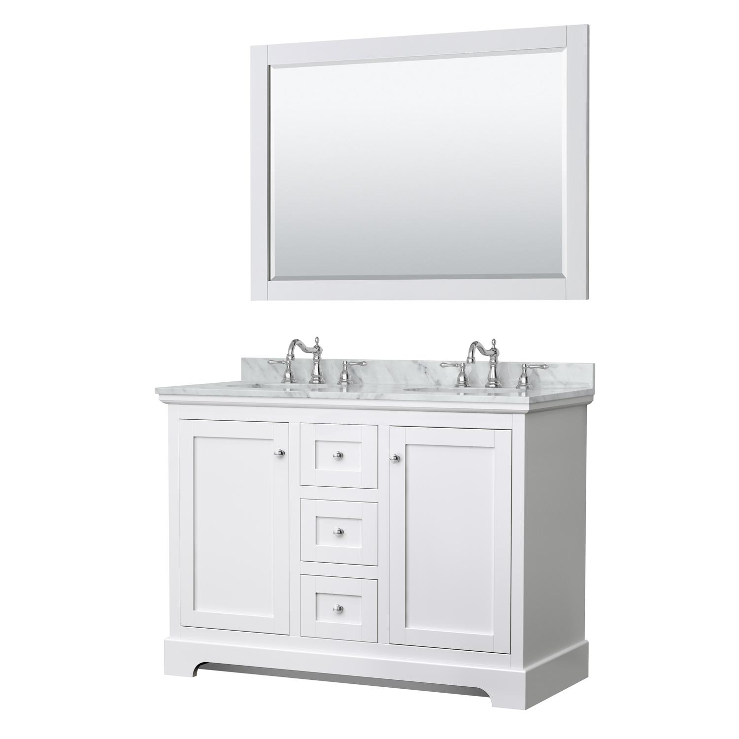 Avery 48 Double Bathroom Vanity By Wyndham Collection White Beautiful Bathroom Furniture For Every Home Wyndham Collection