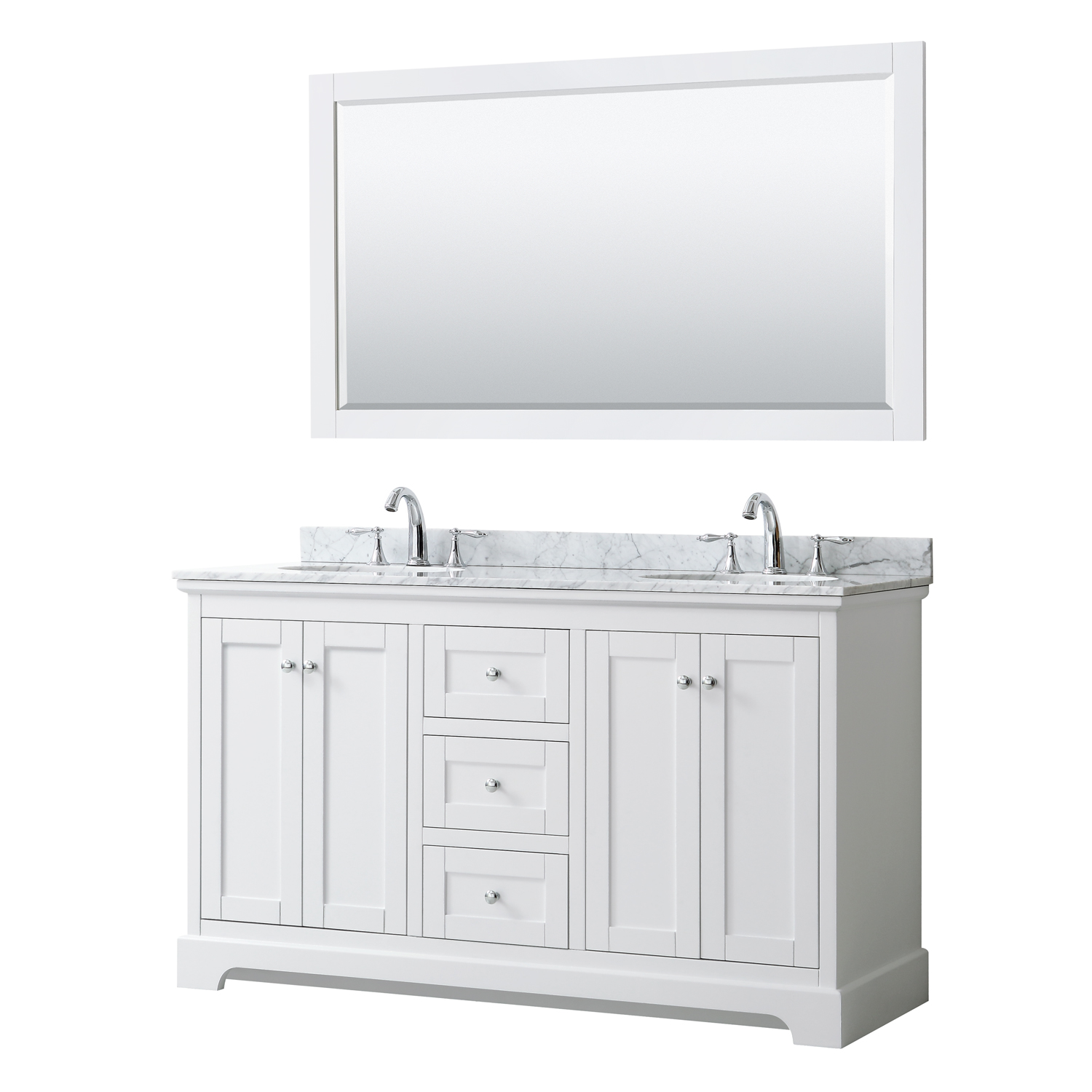 Avery 60 Double Bathroom Vanity By Wyndham Collection White Beautiful Bathroom Furniture For Every Home Wyndham Collection