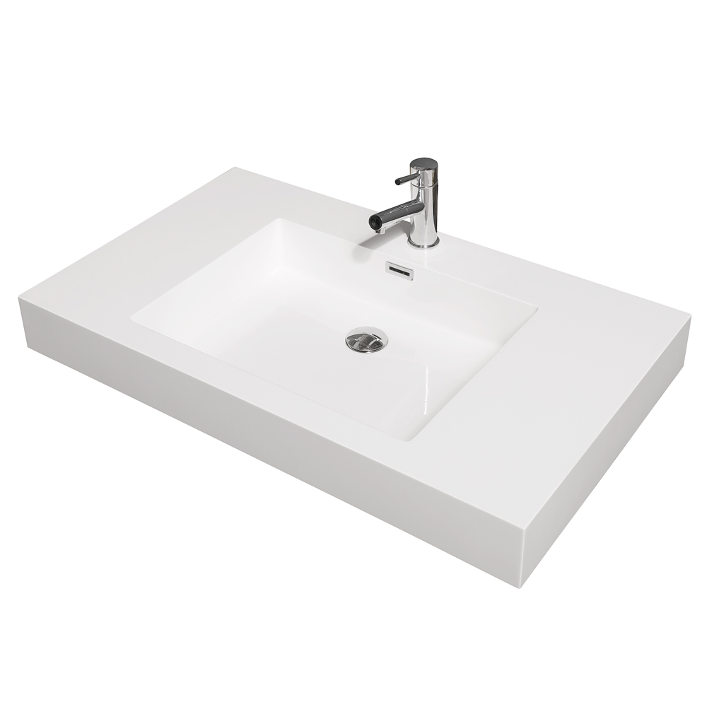 Amare 36 Single Bathroom Vanity In Glossy White Acrylic Resin Countertop Integrated Sink And 24 Mirror