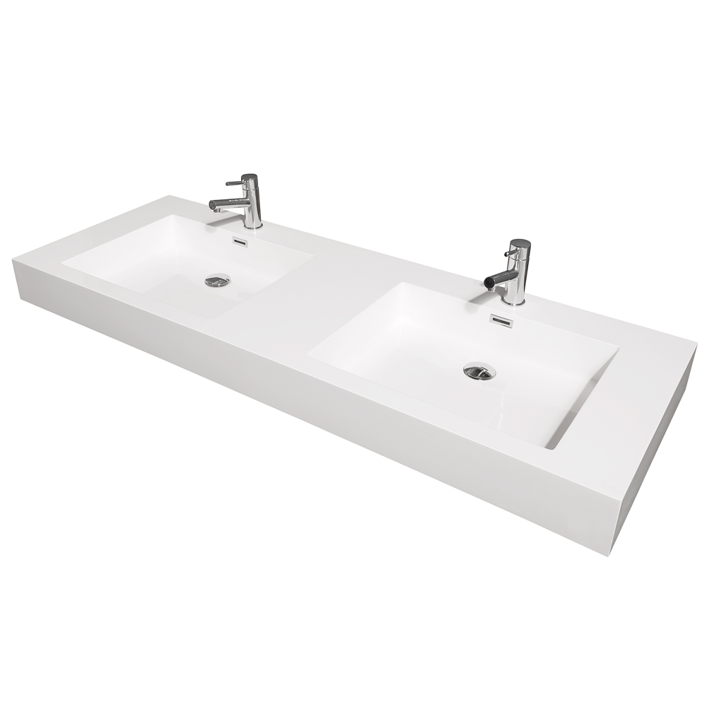 Amare 60 Double Bathroom Vanity In Glossy White Acrylic Resin Countertop Integrated Sinks And 58 Mirror