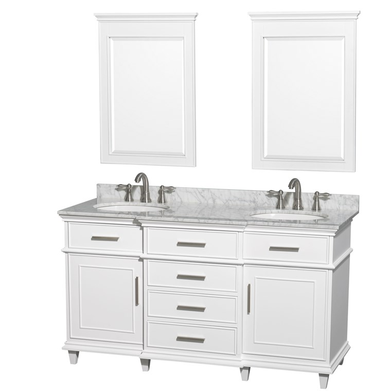 "Berkeley 60"" Double Bathroom Vanity - White WC-1717-60-DBL-WHT"