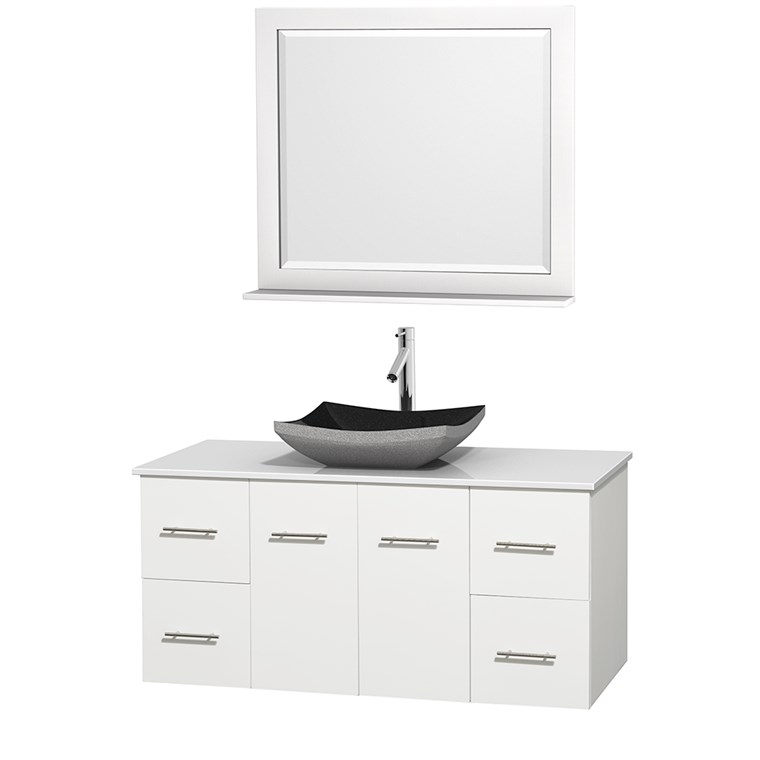 "Centra 48"" Single Bathroom Vanity for Vessel Sink - Matte White WC-WHE009-48-SGL-VAN-WHT_"