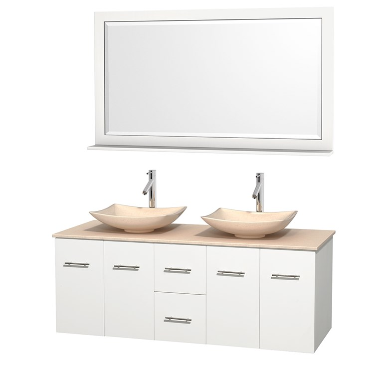 "Centra 60"" Double Bathroom Vanity for Vessel Sinks - Matte White WC-WHE009-60-DBL-VAN-WHT_"
