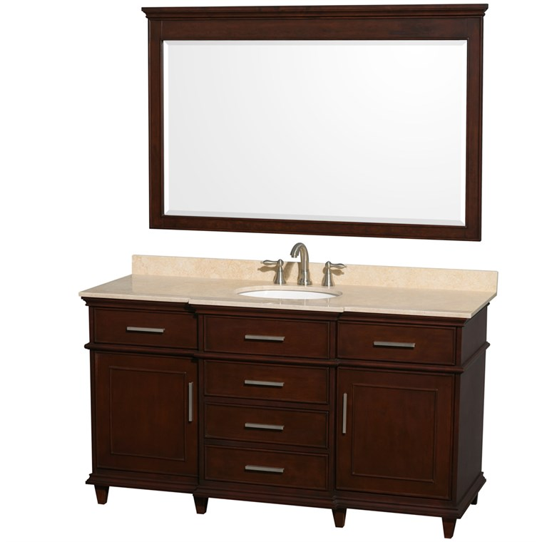 "Berkeley 60"" Single Bathroom Vanity - Dark Chestnut WC-1717-60-SGL-CDK"