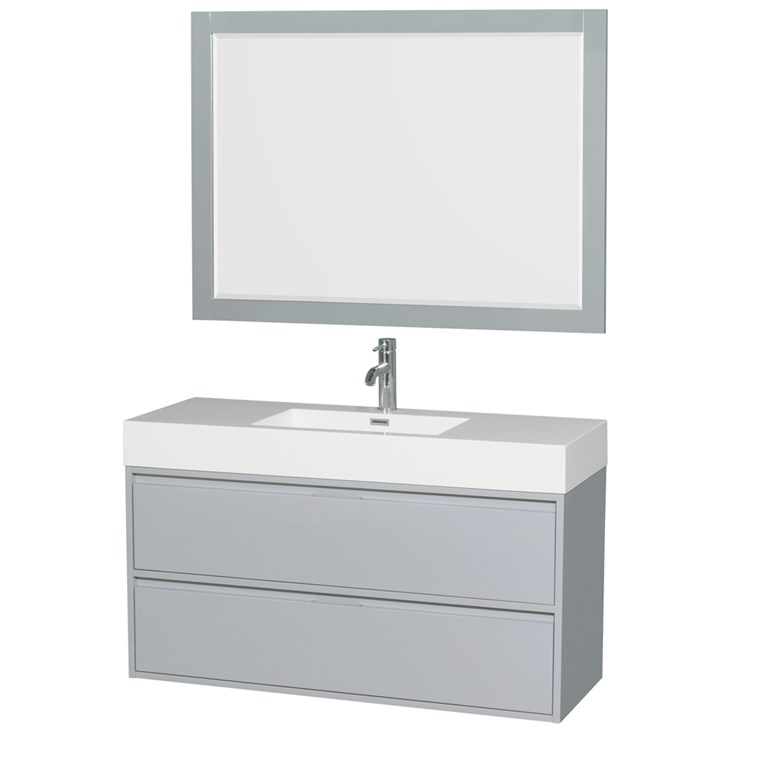 "Daniella 48"" Wall-Mounted Bathroom Vanity Set With Integrated Sink - Dove Gray WC-R4600-48-VAN-DVG"