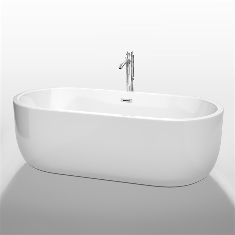 "Juliette 71"" Soaking Bathtub by Wyndham Collection - White WC-BT1013-71"