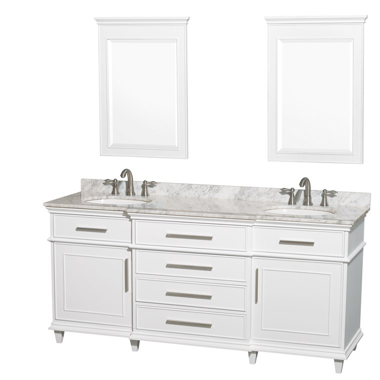 "Berkeley 72"" Double Bathroom Vanity - White WC-1717-72-DBL-WHT"