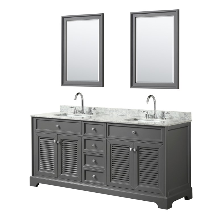 "Tamara 72"" Double Bathroom Vanity by Wyndham Collection - Dark Gray WC-2121-72-DBL-VAN-DKG"