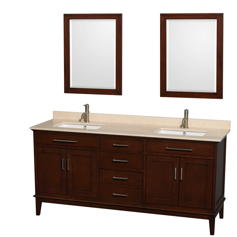 "Hatton 72"" Double Bathroom Vanity - Dark Chestnut WC-1616-72-DBL-VAN-CDK"