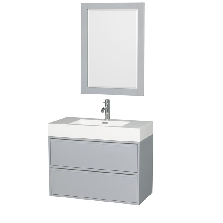 "Daniella 36"" Wall-Mounted Bathroom Vanity Set With Integrated Sink - Dove Gray WC-R4600-36-VAN-DVG"