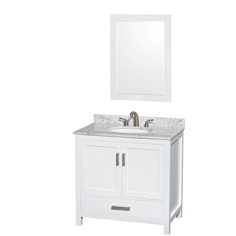 "Sheffield 36"" Single Bathroom Vanity by Wyndham Collection - White WC-1414-36-SGL-VAN-WHT"