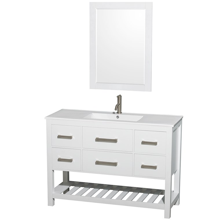 "Natalie 48"" Single Bathroom Vanity Set - White WC-2111-48-SGL-VAN-WHT"