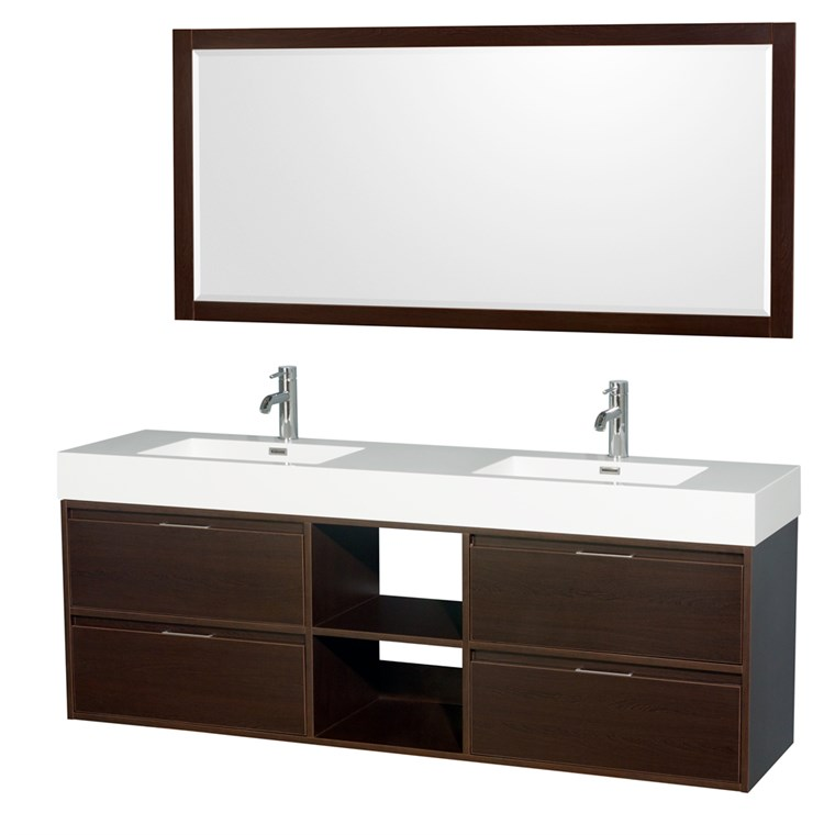 "Daniella 72"" Wall-Mounted Double Bathroom Vanity Set With Integrated Sinks - Espresso WC-R4600-72-VAN-ESP"
