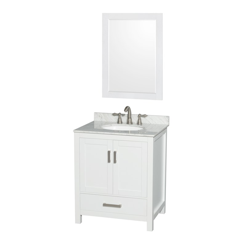 "Sheffield 30"" Single Bathroom Vanity by Wyndham Collection - White WC-1414-30-SGL-VAN-WHT"