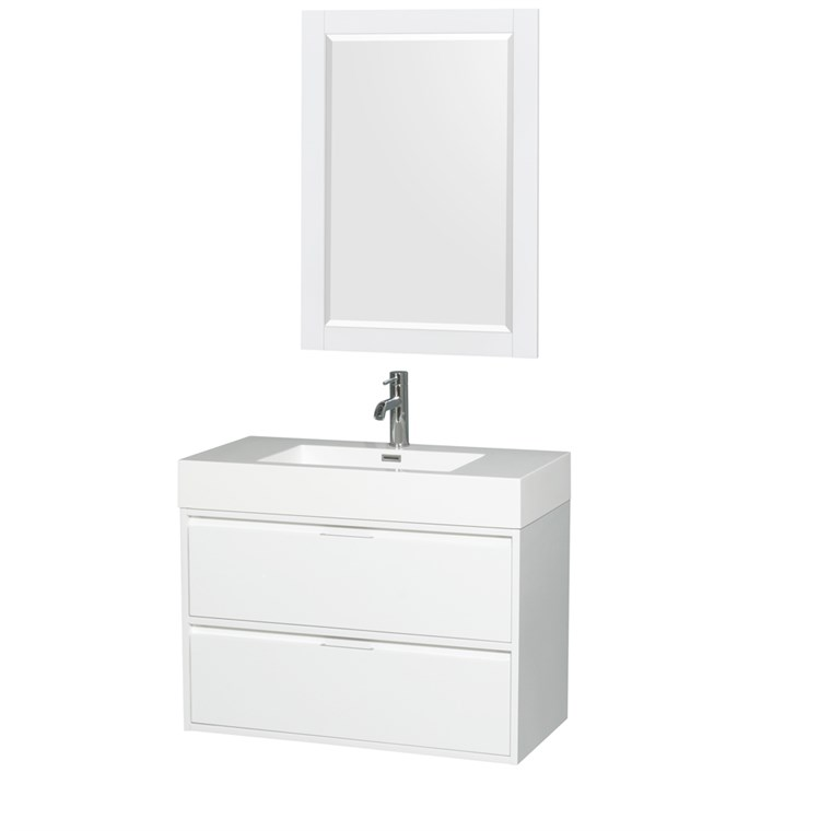"Daniella 36"" Wall-Mounted Bathroom Vanity Set With Integrated Sink - Glossy White WC-R4600-36-VAN-WHT"