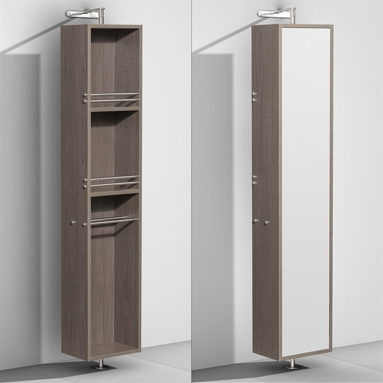 Amare Rotating Floor Cabinet with Mirror - Gray Oak WC-RYV202-GROAK