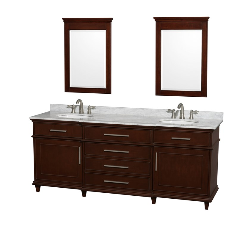"Berkeley 80"" Double Bathroom Vanity - Dark Chestnut WC-1717-80-DBL-CDK"