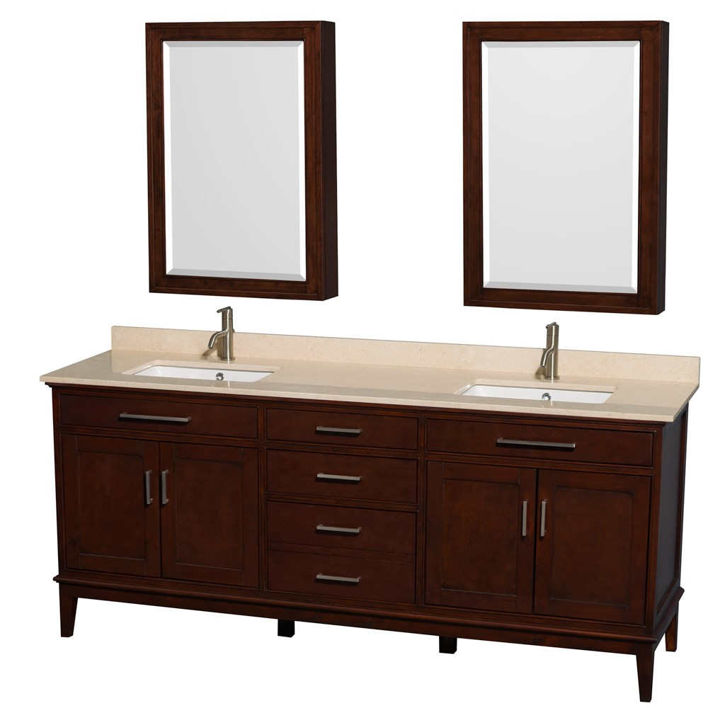 "Hatton 80"" Double Bathroom Vanity - Dark Chestnut WC-1616-80-DBL-VAN-CDK"