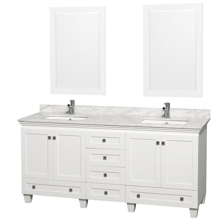 Acclaim 72 in. Double Bathroom Vanity - White WC-CG8000-72-DBL-VAN-WHT-
