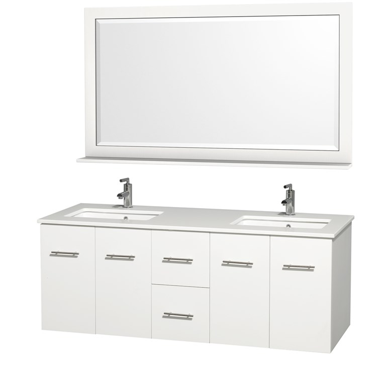 "Centra 60"" Double Bathroom Vanity for Undermount Sinks - Matte White WC-WHE009-60-DBL-VAN-WHT-"