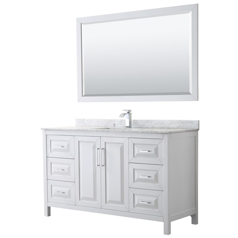 "Daria 60"" Single Bathroom Vanity by Wyndham Collection - White WC-2525-60-SGL-VAN-WHT"