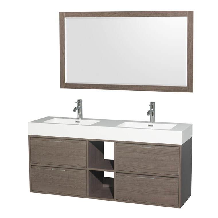 "Daniella 60"" Wall-Mounted Double Bathroom Vanity Set With Integrated Sinks - Gray Oak WC-R4600-60-VAN-GRO"