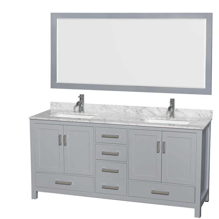 "Sheffield 72"" Double Bathroom Vanity by Wyndham Collection - Gray WC-1414-72-DBL-VAN-GRY"