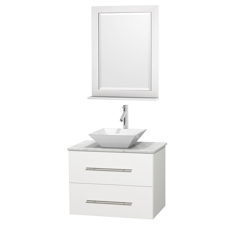 "Centra 30"" Single Bathroom Vanity for Vessel Sink - Matte White WC-WHE009-30-SGL-VAN-WHT_"