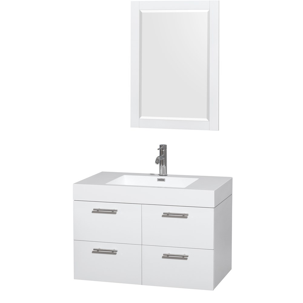Amare 36 Wall Mounted Bathroom Vanity Set With Integrated Sink Glossy White Beautiful Bathroom Furniture For Every Home Wyndham Collection