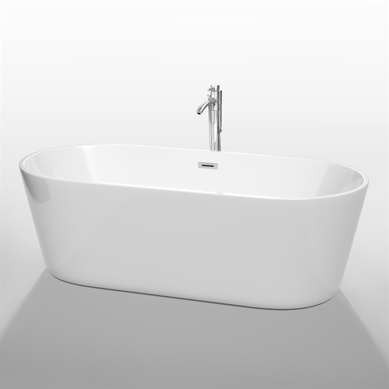 "Carissa 71"" Soaking Bathtub by Wyndham Collection - White WC-BT1012-71"