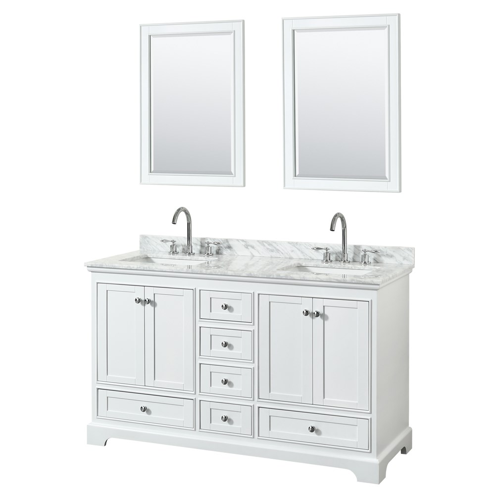 "Deborah 60"" Double Bathroom Vanity - White WC-2020-60-DBL-VAN-WHT"