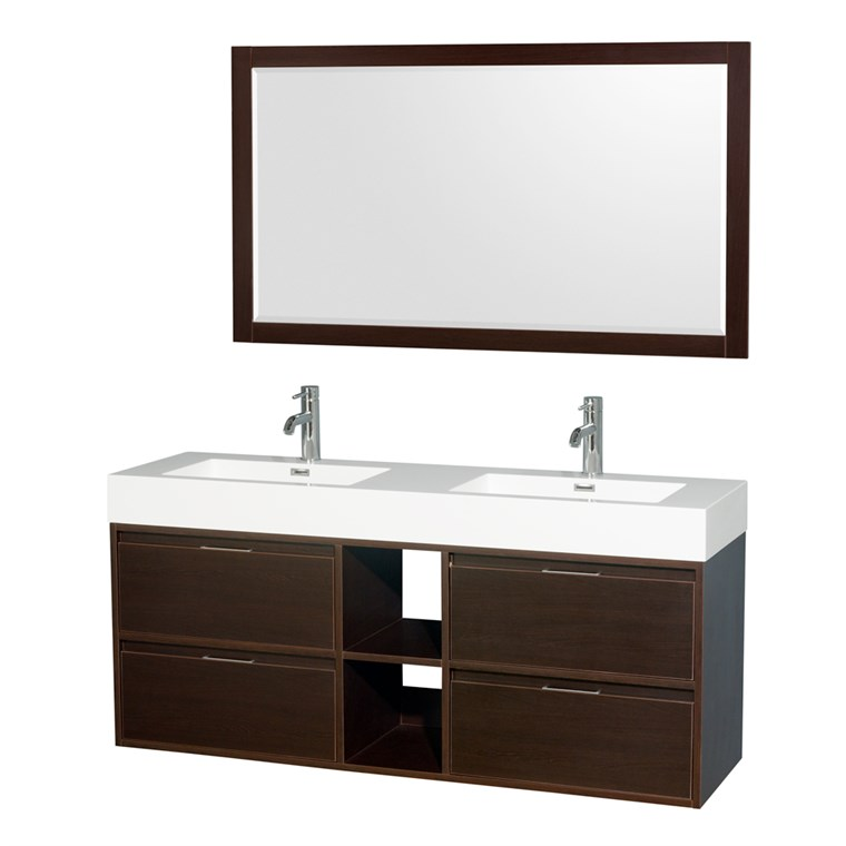 "Daniella 60"" Wall-Mounted Double Bathroom Vanity Set With Integrated Sinks - Espresso WC-R4600-60-VAN-ESP"