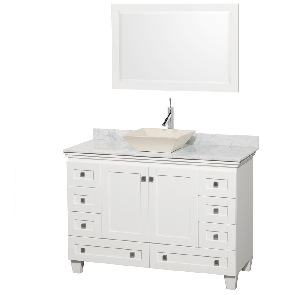 Acclaim 48 Single Bathroom Vanity For Vessel Sink White Beautiful Bathroom Furniture For Every Home Wyndham Collection