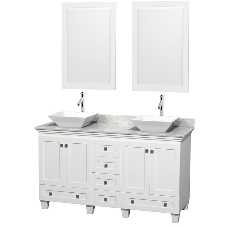 "Acclaim 60"" Double Bathroom Vanity for Vessel Sinks - White WC-CG8000-60-DBL-VAN-WHT"