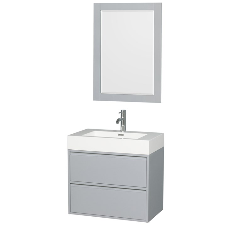 "Daniella 30"" Wall-Mounted Bathroom Vanity Set With Integrated Sink - Dove Gray WC-R4600-30-VAN-DVG"