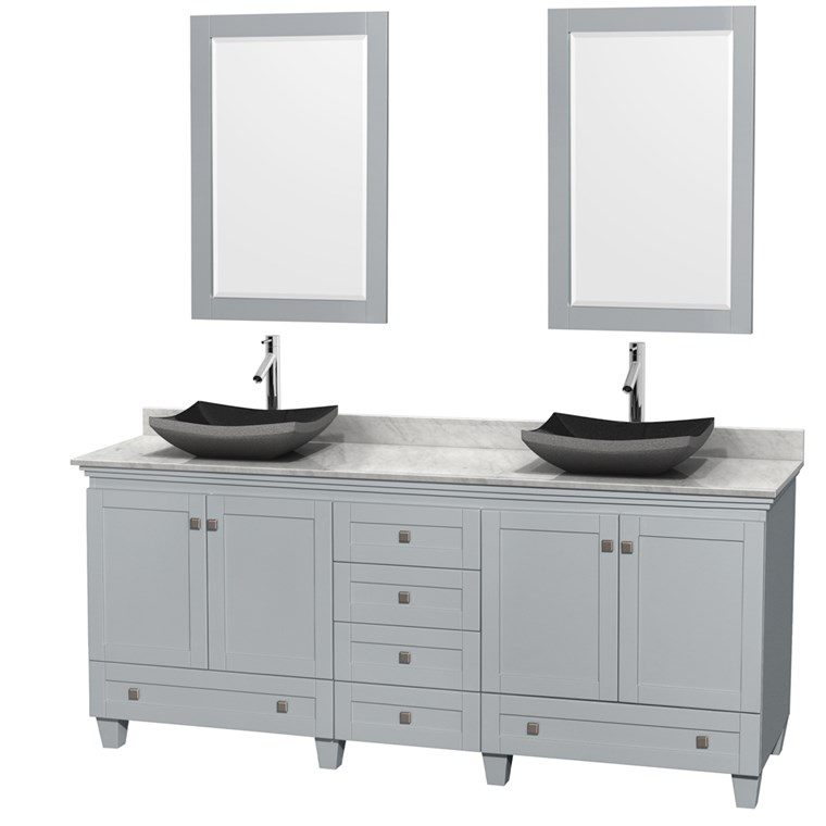 "Acclaim 80"" Double Bathroom Vanity for Vessel Sinks - Oyster Gray WC-CG8000-80-DBL-VAN-OYS"