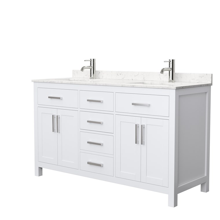 "Beckett 60"" Double Bathroom Vanity - White WC-2424-60-DBL-VAN-WHT"