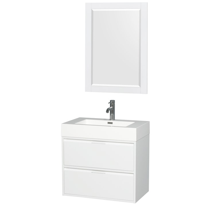 "Daniella 30"" Wall-Mounted Bathroom Vanity Set With Integrated Sink - Glossy White WC-R4600-30-VAN-WHT"