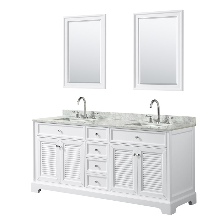 "Tamara 72"" Double Bathroom Vanity - White WC-2121-72-DBL-VAN-WHT"