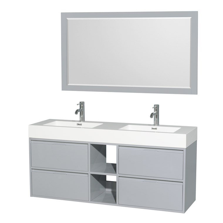 "Daniella 60"" Wall-Mounted Double Bathroom Vanity Set With Integrated Sinks - Dove Gray WC-R4600-60-VAN-DVG"