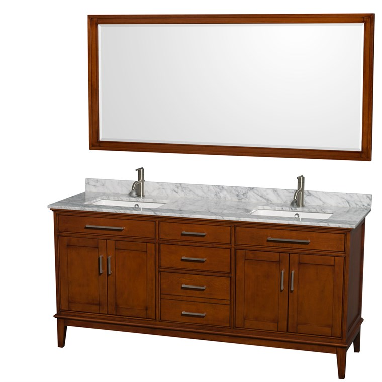 "Hatton 72"" Double Bathroom Vanity - Light Chestnut WC-1616-72-DBL-VAN-CLT"