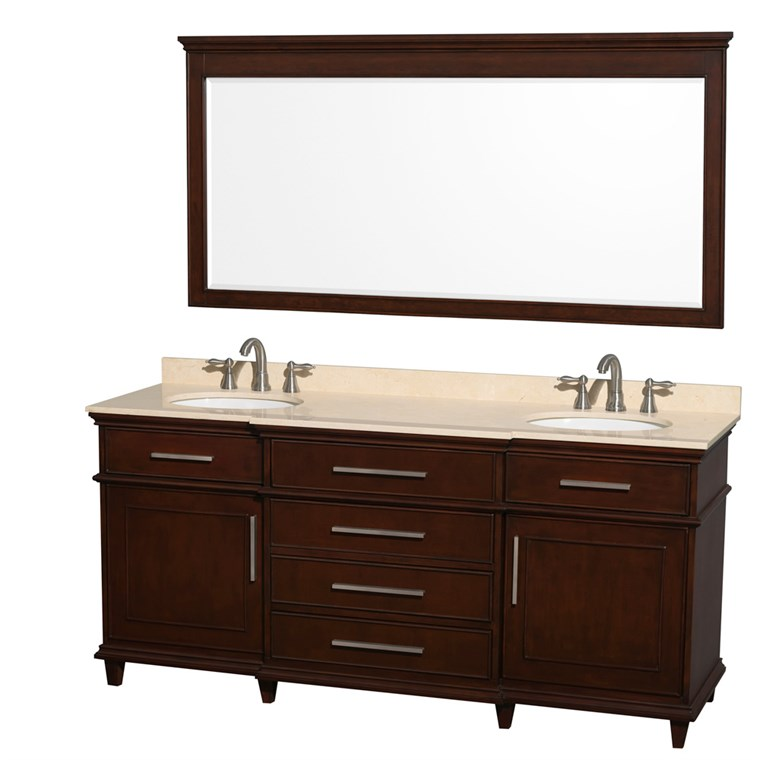 "Berkeley 72"" Double Bathroom Vanity - Dark Chestnut WC-1717-72-DBL-CDK"