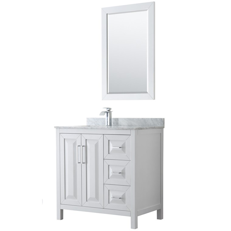 "Daria 36"" Single Bathroom Vanity by Wyndham Collection - White WC-2525-36-SGL-VAN-WHT"
