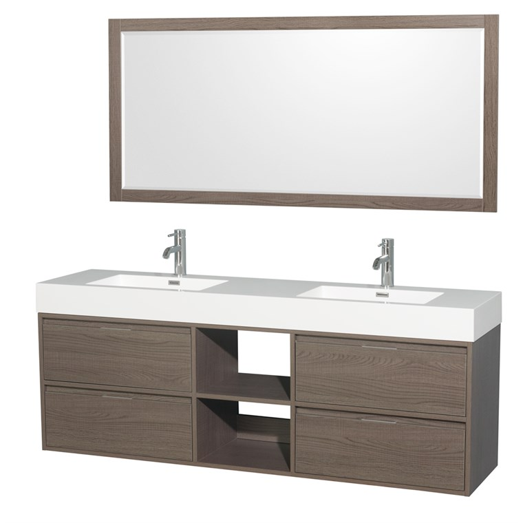 "Daniella 72"" Wall-Mounted Double Bathroom Vanity Set With Integrated Sinks - Gray Oak WC-R4600-72-VAN-GRO"