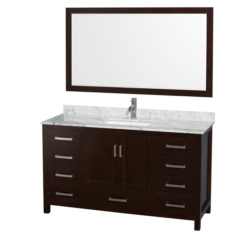 "Sheffield 60"" Single Bathroom Vanity by Wyndham Collection - Espresso WC-1414-60-SGL-VAN-ESP"
