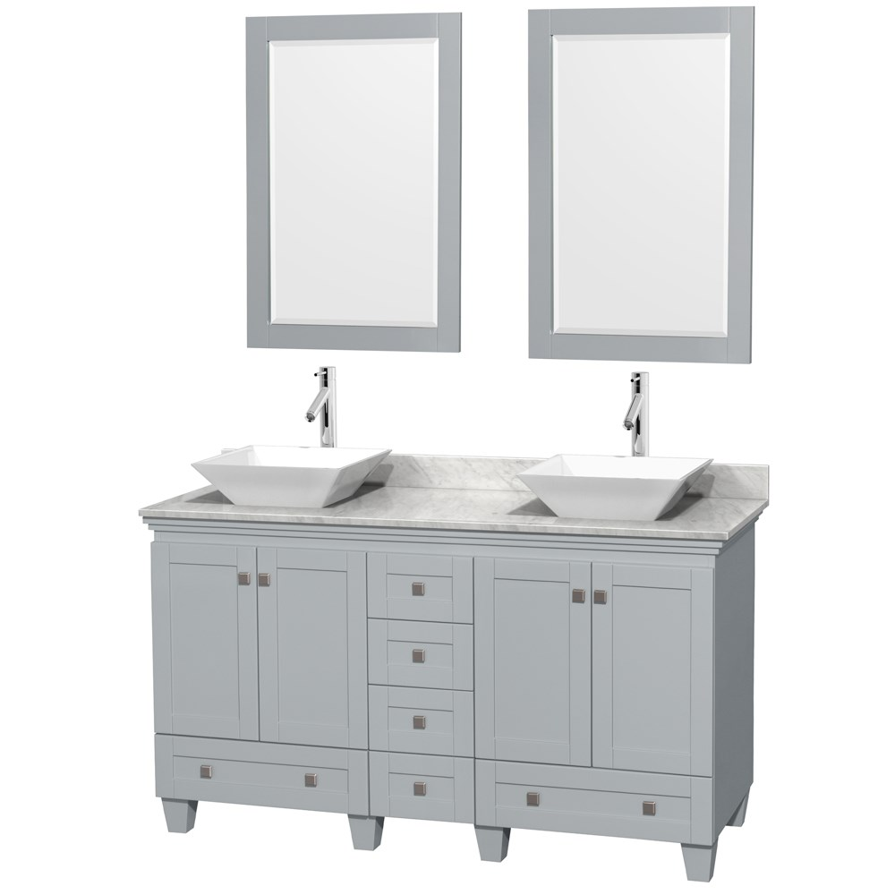 Acclaim 60 Double Bathroom Vanity For Vessel Sinks Oyster Gray Beautiful Bathroom Furniture For Every Home Wyndham Collection