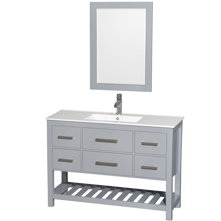 "Natalie 48"" Single Bathroom Vanity Set - Gray WC-2111-48-SGL-VAN-GRY"