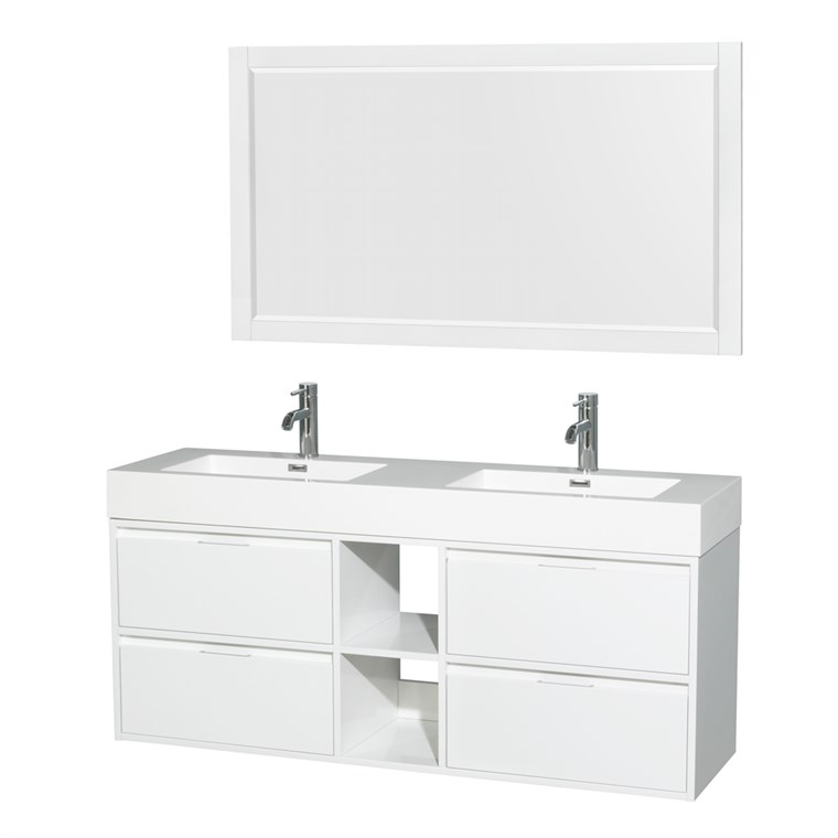 "Daniella 60"" Wall-Mounted Double Bathroom Vanity Set With Integrated Sinks - Glossy White WC-R4600-60-VAN-WHT"