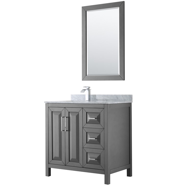 "Daria 36"" Single Bathroom Vanity by Wyndham Collection - Dark Gray WC-2525-36-SGL-VAN-DKG"