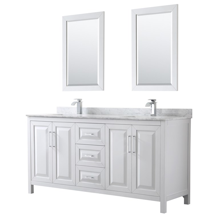 "Daria 72"" Double Bathroom Vanity by Wyndham Collection - White WC-2525-72-DBL-VAN-WHT"